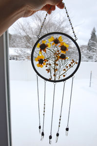 Pressed flower wall hanging - Yellow Coreopsis and Lilly of the Valley