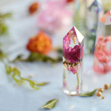 Load image into Gallery viewer, ROSE Floral crystal point, faux clear quartz crystal