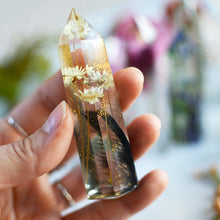 Load image into Gallery viewer, Pressed flower terrarium, clear faux quartz crystal tower