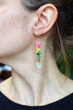 Load image into Gallery viewer, Spring Fling floral bar earrings
