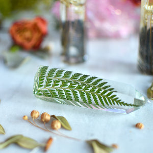 Fern leaf natural crystal point, Faux clear quartz crystal