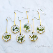 Load image into Gallery viewer, A pair of dangling beauties fit for the queen of her own hive. Solid brass honeycombs filled with fragments of Norwegian moss.  – Minimalist yet unique and contemporary design.