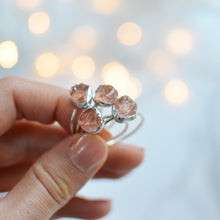 Load image into Gallery viewer, Pink Rose Quartz Raw Unpolished silver ring