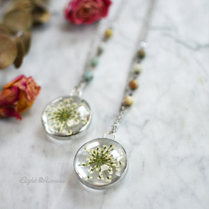 Pressed flower necklace, White Queen Anne's Lace