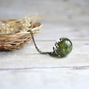 "(Wholesale) Moss necklace large sphere, 25"" bronze"