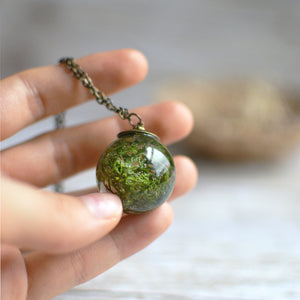 Moss necklace resin jewelry terrarium necklace woodland necklace