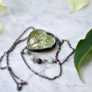 Dogwood leaf green heart pendant, terrarium jewelry
