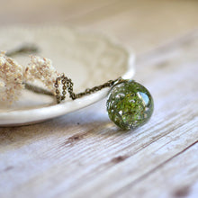 Load image into Gallery viewer, Moss necklace resin jewelry terrarium necklace woodland necklace