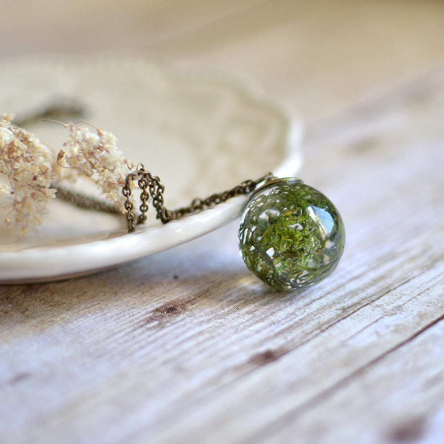 (Wholesale) Moss necklace large sphere, 25