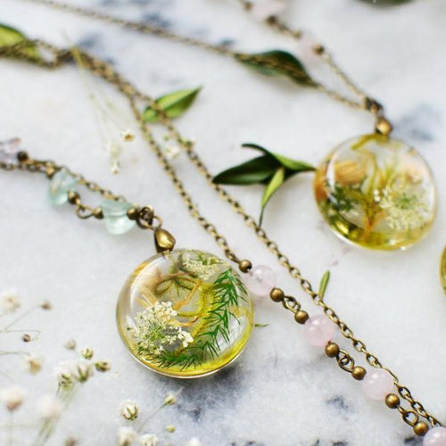 Terrarium Moss necklace nature jewelry