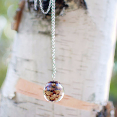 Pine cone necklace - Resin jewelry ball necklace, autumn fall jewelry/nature necklace