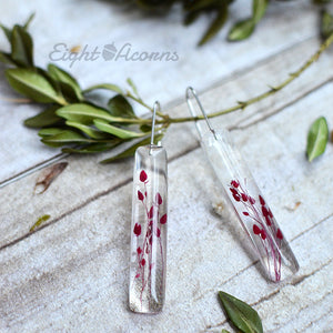 Red Caspia bar earrings
