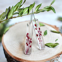 Load image into Gallery viewer, Red Caspia bar earrings