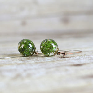 moss earrings - botanical jewelry, terrarium jewelry , nature jewelry