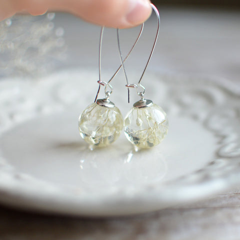 flower earrings - resin jewelry, white baby breath, nature jewelry, eco resin jewelry