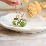 Fern earrings - terrarium jewelry, fern terrarium, pressed leaf, nature jewelry, maidenhair fern