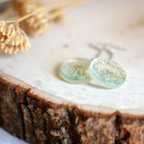 Flower earrings, Pressed flower, botanical jewelry - Queen Anne's Lace flower