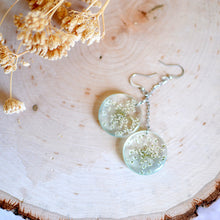 Load image into Gallery viewer, Flower earrings, Pressed flower, botanical jewelry - Queen Anne's Lace flower