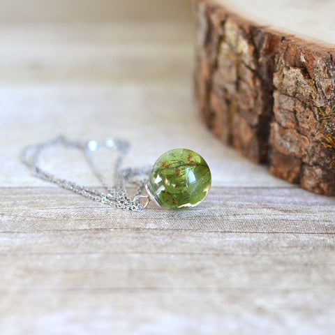 Fern necklace, maidenhair fern, resin jewelry, pressed leaf, nature necklace