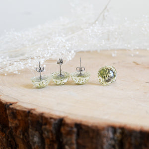 (Wholesale) Queen Anne's Lace Floral stud earrings