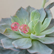Load image into Gallery viewer, Pink flower dangle earrings