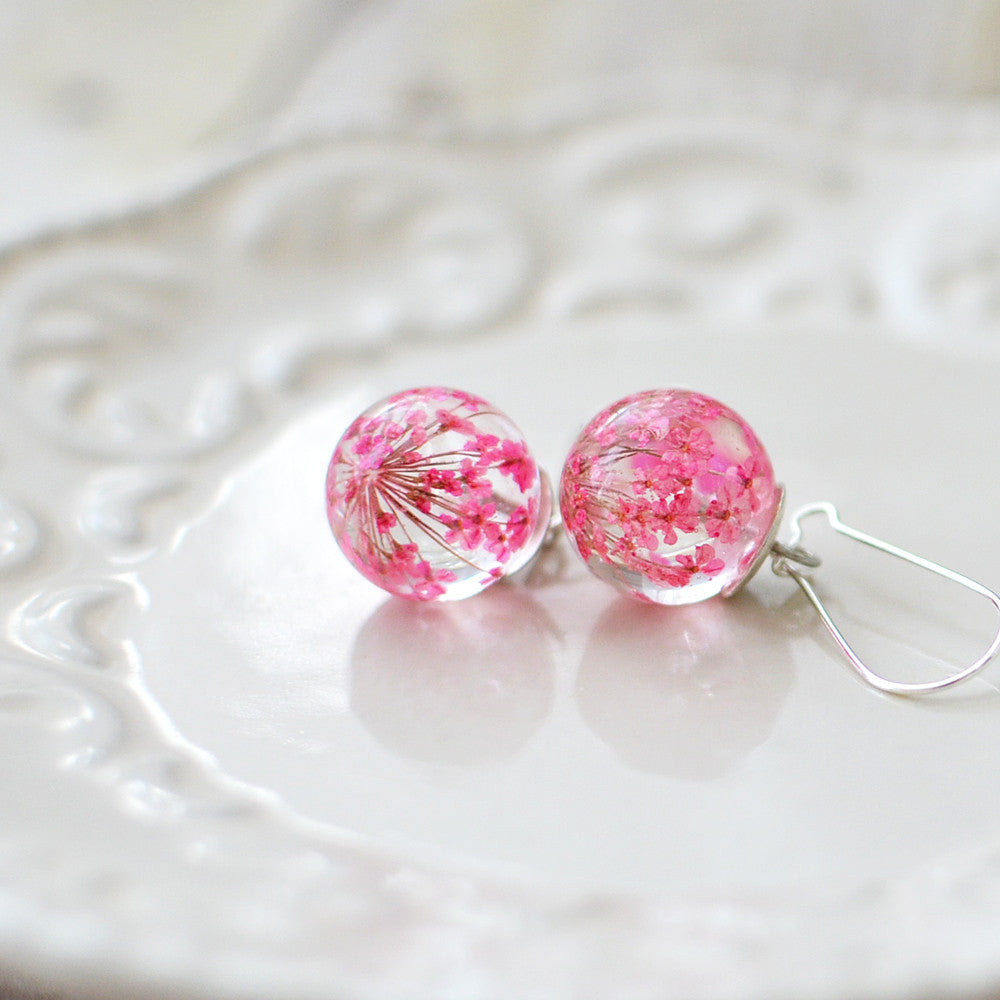 Pink Flower Dangle Earrings Eight Acorns # Terrarium Dangle