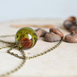 Moss pinecone necklace