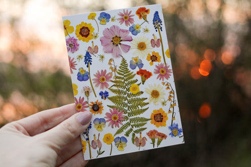 Summer Garden Flowers - Pressed flower collection card