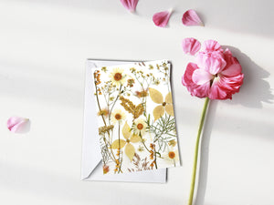 White Flower Mix - Pressed flower collection card