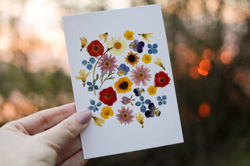 Summer Garden Mix - Pressed flower collection card