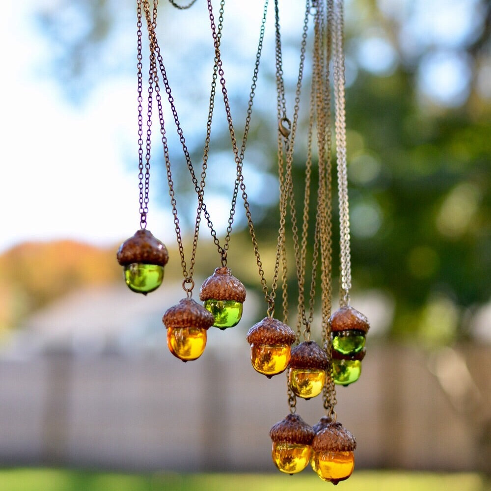 (Wholesale) Acorn amber necklace, 25