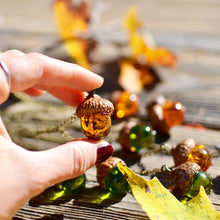 Load image into Gallery viewer,  cute acorn pendant with the real wooden cap and amber resin body.