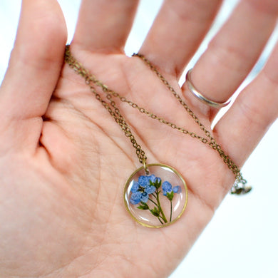 Forget me not brass pendant