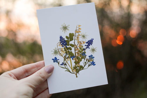 Lilly of the valley/Muscari - Pressed flower collection card