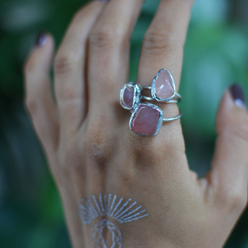Pink Polished Rose Quartz silver ring