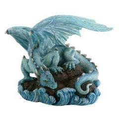 Blue Water Dragon on Rock Fantasy Figure Decoration
