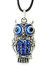 Silver Owl Lucky Eye with Blue Crystals Good Luck Pendant and Necklace in Gift Box (Hamsa inspired)