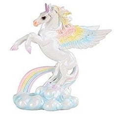 Pair of StealStreet Winged Unicorn Horse with Rainbow Clouds Decorative Figurines (Each Sold Seperatly)
