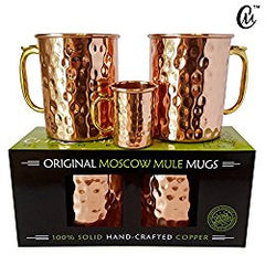 Moscow Mule Mugs Set of 2 - 100% Hand Hammered Copper Cups - 2 Vintage Moscow Mule Mugs, Bonus 2oz Shot Mug Jigger and Moscow Mule Recipe Book