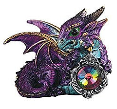 Purple and Green Dragon with Gem Medieval Fantasy Figurine Altar Statue Decoration