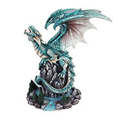 9 Inch Blue Dragon Growling on Top a Waterfall Statue Figurine