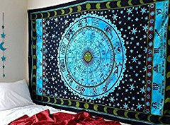Jumbo Sized Altar Tarot Cloth: Zodiac Tapestry Horoscope Tapestry Indian Astrology Hippie Tapestry Wall hanging Dorm Decor Psychedelic Tapestry Bohemian Bedspread Bed Cover Bedding Beach Blanket