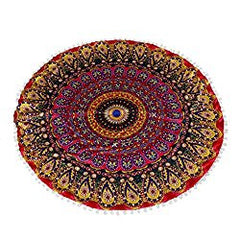 "Prayer Pillow, Meditation Pillow, Altar Pillow, Yoga Pillow, Zafu Cushion, Large 32"" Round Pillow Cover, Decorative Mandala Pillow Sham, Indian, Bohemian, Gypsy, Persian, Moroccan, Ottoman Poufs, Pom Pom Pillow Cases, Outdoor Cushion Cover"