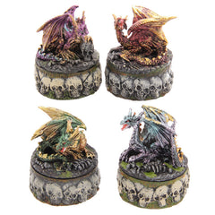 Necromancer's Dragon Skull Apothecary Trinket Box Fantasy Collectable - 13 Black Cats - 1