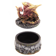 Necromancer's Dragon Skull Apothecary Trinket Box Fantasy Collectable - 13 Black Cats - 7
