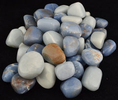 Angelite tumbled pale blue gemstones for Angel Communication and Light Work - 1 lb (11 - 15 stones) - 13 Black Cats