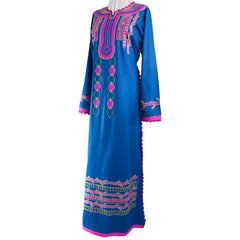 Blue Embroidered Authentic Gypsy Kaftan Dress - 13 Black Cats