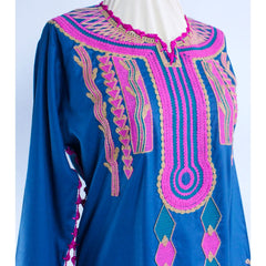Blue Embroidered Authentic Gypsy Kaftan Dress - 13 Black Cats - 7