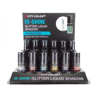 Venta al por mayor City Color Sombra Liquida Hi-Shine Glitter Display 24PZS (E-0074)