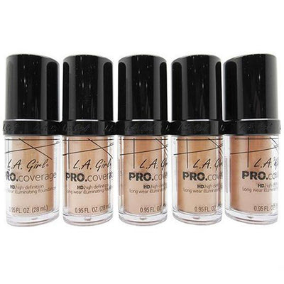 Venta al por mayor L.A Girl Pro Coverage HD Foundation 5 Tonos Pack 15PZS (GLM642/43/44/45/46)